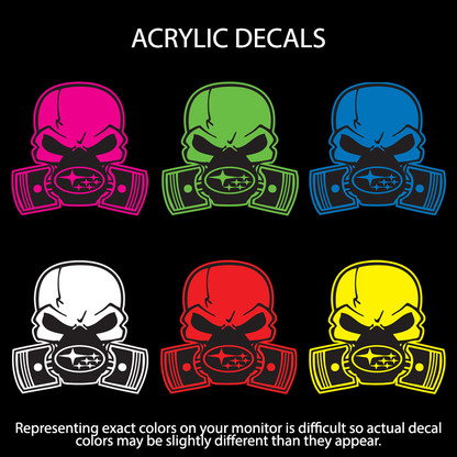 Subie Gas Mask Skull - Acrylic Stickers (actual decal colors may be slightly different)