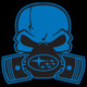 Blue Subie Gas Mask Skull - Acrylic Sticker (actual decal colors may be slightly different)