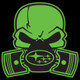 Green Subie Gas Mask Skull - Acrylic Sticker (actual decal colors may be slightly different)