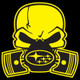Yellow Subie Gas Mask Skull - Acrylic Sticker (actual decal colors may be slightly different)