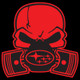 Red Subie Gas Mask Skull - Acrylic Sticker (actual decal colors may be slightly different)