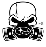 White Subie Gas Mask Skull - Vinyl One Color Sticker (actual decal colors may be slightly different)