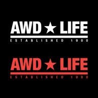 AWD * LIFE Sticker in White & Red. Other colors available.