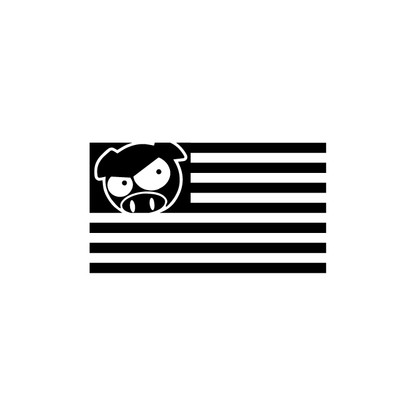 Rally Pig USA Flag Sticker