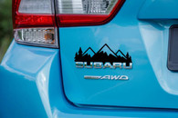 Over Badge Mountain Range with Trees Sticker Decal - Crosstrek