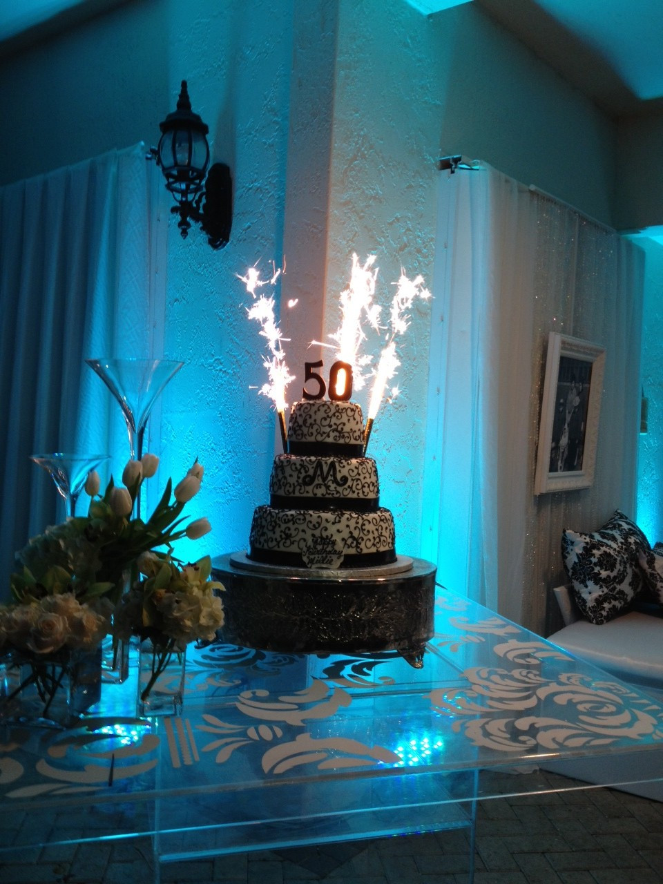 Custom Champagne Bottle Sparklers Cake Wedding Firework Displays