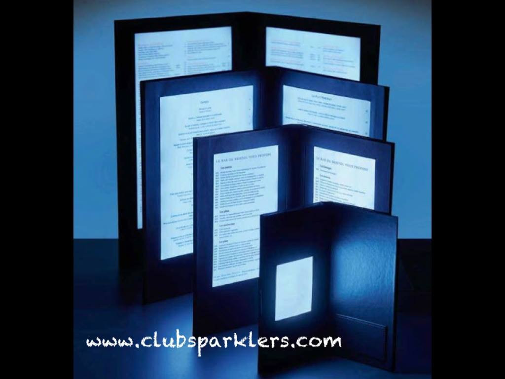 Led Back Lit Menu Glow In A Dark Menu Light Up Menu