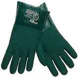"MEMPHIS 12"" GREEN PVC GLOVE / NON SLIP FINISH, LINED - 6412"