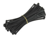 "8"" HEAVY DUTY BLACK WEATHER RESISTANT NYLON CABLE TIES 100/BAG"