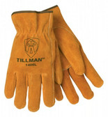 Tillman 1405 Cowhide Russet Split Leather Driver Gloves    Tillman™ Unlined Drivers Gloves feature a keystone thumb for maximum flexibility and double stitching on forefinger for extra strength. Russet cowhide shoulder split economy gloves are gunn cut for easy movement as well as for added comfort.