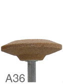 "FLEXOVIT 1-5/8"" X 3/8"" X 1/4"" SHANK MOUNTED POINT GRINDING STONE A36 SHAPE"