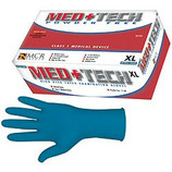 Med+Tech Blue 11 mil Disposable Gloves - Small ****Clearance Item - Price Good While Supplies Last***  Natural rubber latex is, by its very nature, a natural substance. The natural rubber latex polymer used in the manufacture of natural rubber gloves is a natural, biodegradable material that is inherently antimicrobial and antibacterial. !! CAUTION !! These products contain natural rubber latex which may cause allergic reactions in some people.