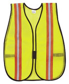 "RIVER CITY LIME POLY MEST SAFETY VEST ADJUSTABLE CLOSURE ELASTIC SIDE STRAPS 2"" REFLECTIVE STRIPE V200R"