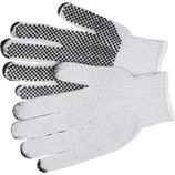 MEMPHIS WHITE COTTON/POLY GLOVE - DOT ONE SIDE (LARGE) 9650L