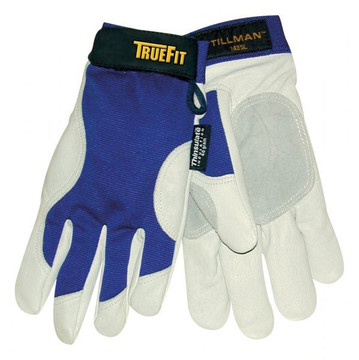 Tillman 1485 TrueFit Lined Winter Gloves - Medium  The Tillman 1485 TrueFit Top Grain Pigskin Performance Gloves are naturally moisture resistant. These blue and pearl gray winter version TrueFit™ gloves have 40 gram Thinsulate for comfort in cold weather. They are great for many applications, but not for use when welding. All the comfort of TrueFit™ with the added warmth of 3M Thinsulate™.