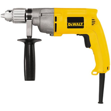The DeWalt DW245 7.8-amp 1/2-inch drill comes with helical-cut steel construction and heat-treated gears for increased durability and long gear life. A metal gear housing is included for job site durability and increased reliability, as is a two-finger trigger for increased comfort. Also featured is a 360-degree side handle for greater control and versatility and triple gear reduction for increased torque and reduced gear stress. This drill is capable of a no-load speed of 0-to-850 RPM and a maximum output of 600 watts. Weighing in at 4.4 pounds, this drill comes with a chuck key with holder and a 360-degree side handle.