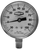 "DIXON 0-100 PSI COMPOUND LOWER MOUNT GAUGE / 2-1/2"" FACE - GL310"