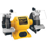The heavy duty DEWALT DW758 8-inch bench grinder is ideal for all grinding operations, including sharpening tools, deburring, rust removal, shaping parts and cleaning objects. It's powered by a 3/4 horsepower induction motor that runs at 3,600 RPM for easy and reliable high speed material removal.