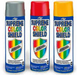Aervoe Supreme Color Shield Spray Paint - 20 oz   Aervoe Supreme Color Shield Paint is designed to provide superior appearance and color retention under mild or moderate conditions. Applications include: steel, metal, aluminum, wood, structural steel, drums, storage tanks, bar joists, steel pipes and railings, racks, conveyors, machinery, equipment, metal doors, ladders, fencing, cabinets, and furniture.