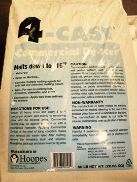 4-Cast® Commercial De-Icer - 40 LB Bag   Excellent commercial de-icer that is safer and more economical than rock salt. Works best at temperatures of -15 degrees Fahrenheit and above. Leaves no oily residue.  Applications:  - Melts fast down to -15 deg F.  - Contains multiple melting agents for both fast and extended melting power.  - Safer...For use on parking lots, driveways, sidewalks and steps.  - Economical...Use less than ordinary ice melters.  Contents: Sodium Chloride, Magnesium Chloride, Calcium Chloride, Potassium Chloride  Amount: 40 LB Bag