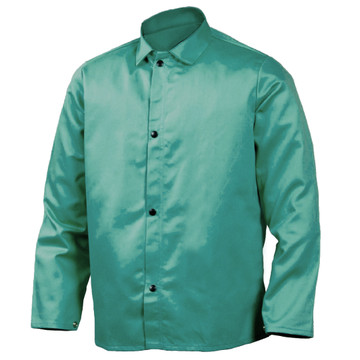 Tillman 6230 Firestop Welding Jacket - Green  The Tillman Firestop Jacket is exactly the top-quality piece of welding apparel you've come to expect from Tillman. It's a basic green welding jacket that is extremely flame resistant, offering you excellent protection. It's washable, cool and comfortable. The Tillman Firestop Jacket is also very flexible, providing you with complete freedom of movement. This jacket is what you need for protection against sudden exposure to flame, light welding or flying sparks. Be safe and look great in your Tillman welding jacket.