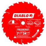 "DIABLO 7-1/4 X 5/8"" FRAMING WOOD CIRCULAR SAW BLADE 24 TOOTH D0724A"
