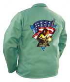 "Tillman 30"" Green Welding Jacket w/ Flag Size XL #TIL9030CL CLEARANCE"