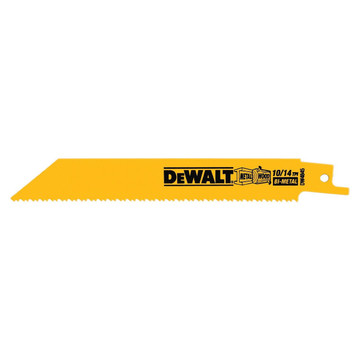 """Get durability and precision with these DEWALT® 6"""" 10/14 TPI Straight Back Bi-Metal Reciprocating Saw Blade (DW4845B). It has reinforced teeth for increased durability, along with anti-slick coating to reduce friction"""
