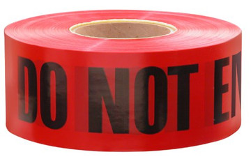 "Empire Red ""Danger / Do Not Enter"" Barricade Tape - 3"" x 1000 FT  - Used for setting off areas under construction  - Made in USA  - Brightly colored polyethylene with bold, black message in 2-Inch letters  - Giant 1000 Feet roll  - Plastic remains pliant in cold weather"
