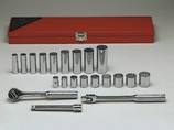 """WRIGHT 21 PIECE 3/8"""" DRIVE 12 POINT STANDARD AND DEEP SOCKET SET 338"""