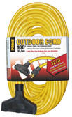 PRIME EC600835 100ft outdoor triple tap extension cords are designed for use by contractors and industrial personnel. Jacket protects against rough use, moisture, ozone and gives added flexibility at below freezing temperatures. Molded-on and bonded vinyl plugs and connectors resist breaking or pulling off cord.