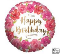 Floral Happy Birthday Mylar