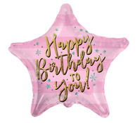 Pink star happy birthday mylar balloon