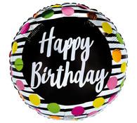 Black & White stripe Happy Birthday Balloon