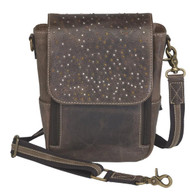 Lovely over the shoulder distressed leather for concealed carry