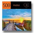 Docked Boat w Sunset Design 500 Piece Jigsaw Puzzle