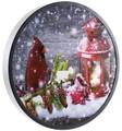 "Oak Street Wholesale Flickering LED Circle Cardinal Christmas Canvas #467 - 15"" x 15"""