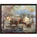 "Mr. Christmas 16"" x 20"" IlluminArt Lighted Canvas #166 - Covered Bridge In Cherry Wood Frame"