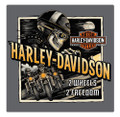 Harley-Davidson Road Rage Skeleton Embossed Tin Sign, 14.5 x 14.5 inches 2011321
