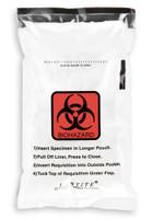 6'' x 10'' Adhesive Biohazard Specimen Transport 3 Wall Bag with Absorbent  SKU: 149-050-1000