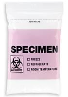 6'' x 9'' PINK Reclosable Ziplock ''Biohazard'' 3 Wall Bag, English/Spanish  SKU: 150-050-1045