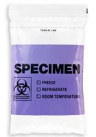 6'' x 9'' PURPLE Reclosable Ziplock ''Biohazard'' 3 Wall Bag, English/Spanish  SKU: 150-050-1060