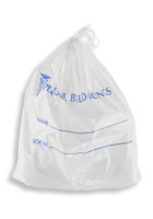 20'' x 20'' + 3'' B.G., SINGLE DRAWSTRING Patient Belonging Bag with Blue Print SKU: 153-010-1090