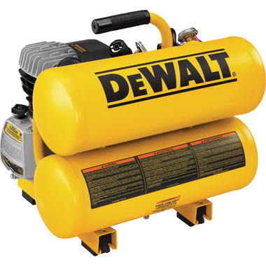 Compact DEWALT twin tank compressor packs all the power of a large compressor and high-quality features into a small, lightweight unit. Features a single-stage oil-lubricated pump with cast iron cylinder for enhanced pump life and rapid recovery. Compressor has dual soft start valves to assist in cold weather start-up. High-flow regulator for increased performance. Proven twin stack tank design. Carry handle for easy portability. Ships with compressor oil in crankcase.   This twin tank air compressor is factory reconditioned to perform like new. NorthernTool.com offers reconditioned tools and equipment that are equal to the standards and quality of new products, yet give you the same features at considerable savings.  What's Included