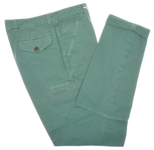 Brunello Cucinelli Pants Cotton Canvas Knee Detail 34 50 Green 02PT0153