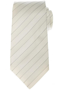 Kiton Napoli 7 Fold Tie Silk 58 1/2 x 3 3/8 Off White Gray Stripe 01TI0973