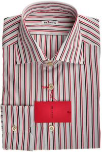 Kiton Luxury Dress Shirt Fine Cotton 16 1/2 42 Red Black Stripe 01SH0402