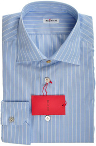 Kiton Luxury Dress Shirt Superfine Cotton 16 41 Blue Stripe 01SH0511