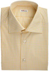 Kiton Luxury Dress Shirt Cotton 15 3/4 40 Yellow Gray Check 01SH0550