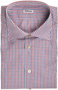 Kiton Luxury Dress Shirt Cotton 17 1/2 44 Blue Red Check 01SH0560